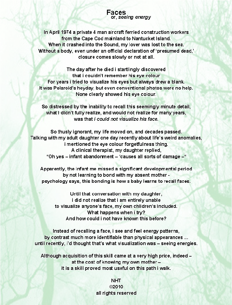 poem over image of face in trees