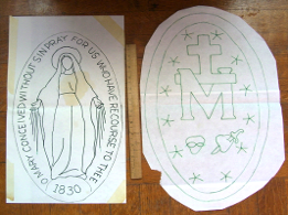 Miraculous Medal quilting pattern original design from <H1>Nay_ho_tze Originals</H1> <NHT's Design Gallery</H1>
