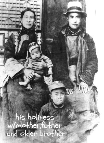 his holiness the dalai lama as a child with his family