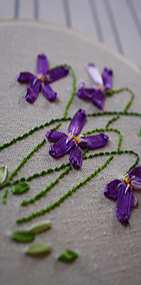 embroidered ribbon violets